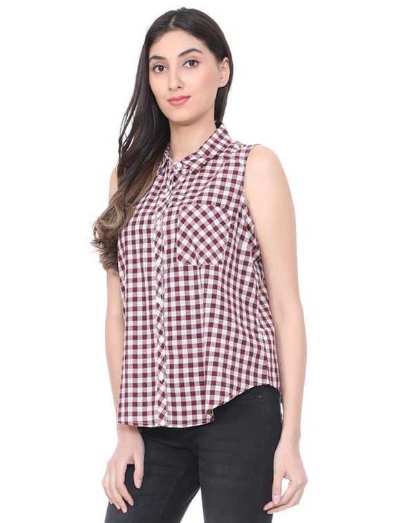 ce18e9b9 Buy Sleeveless Gingham Checks Shirt for Women from People for ₹599 at 0%  off | 2019 Limeroad.com