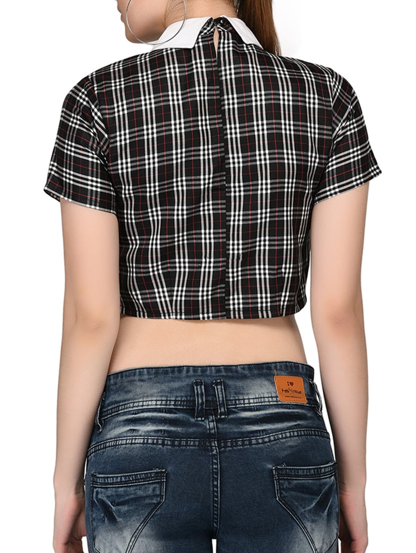 1019fe348ab104 Buy Contrast Collared Checkered Crop Top for Women from Raaika for ₹777 at  48% off