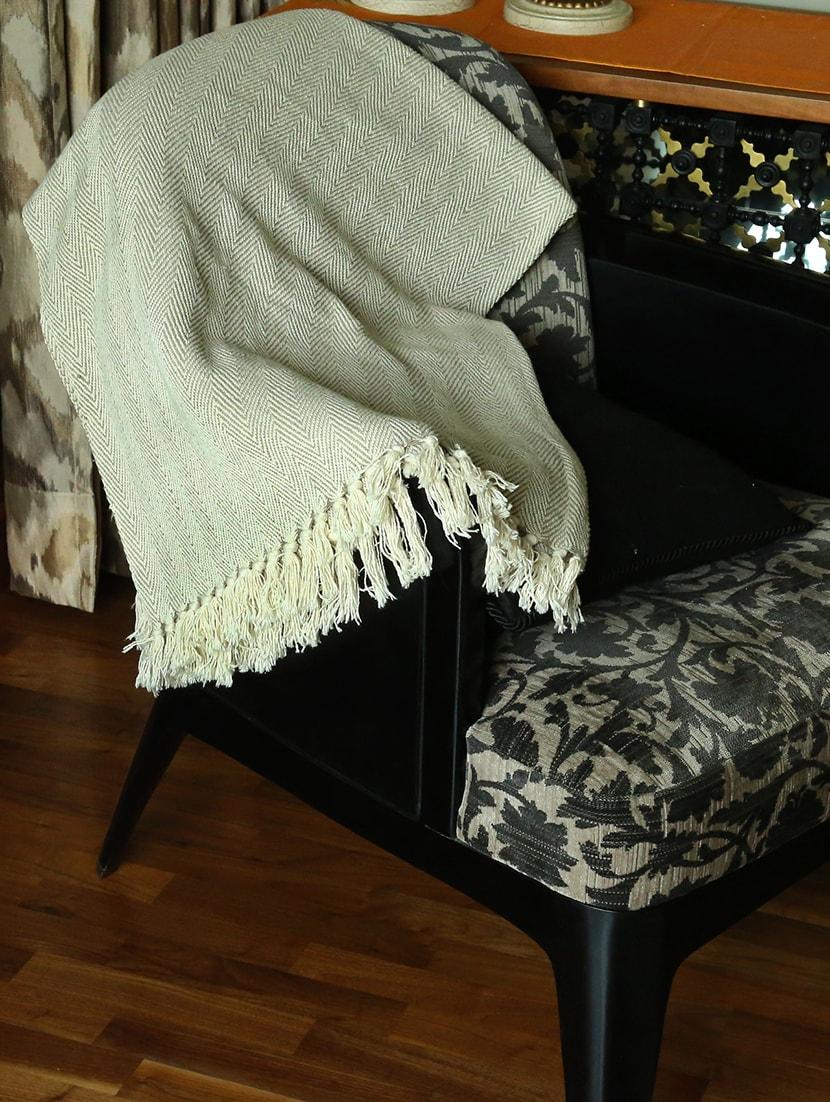 Winter Ac Quilt Sofa Throw Blanket Brown Chevron Pattern Cotton By Rajrang