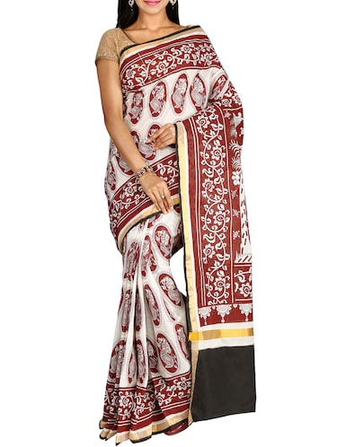 conversational printed saree with blouse - 15770062 - Standard Image - 1