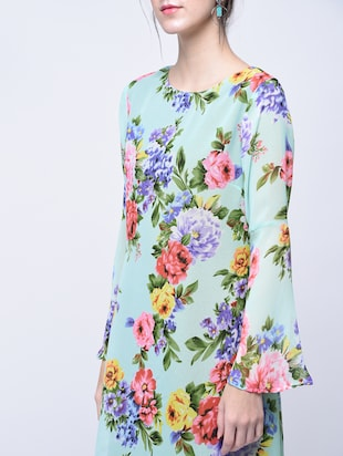 floral bell sleeves a-line dress - 15770576 - Standard Image - 4