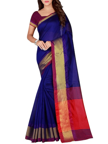 blue cotton woven saree with blouse - 15773432 - Standard Image - 1
