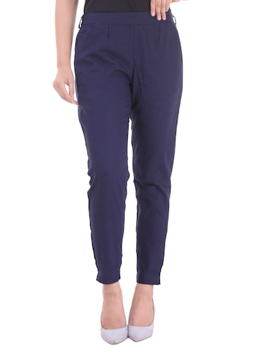 navy blue gathered back trousers - 15784927 - Standard Image - 1