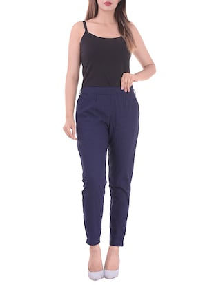 navy blue gathered back trousers - 15784927 - Standard Image - 4