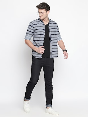 grey striped casual shirt - 15791625 - Standard Image - 4