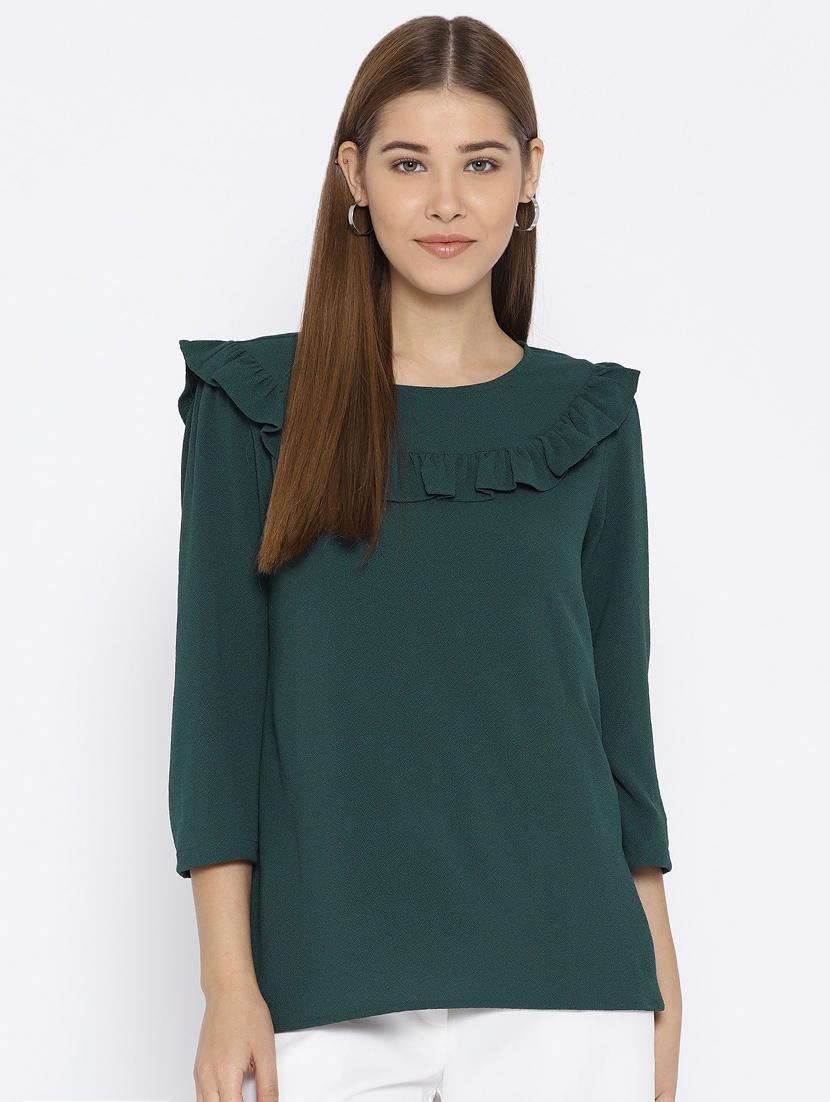 3c8b528ad7745 Buy Frill Detail Yoke Top by Vaak - Online shopping for Tops in India