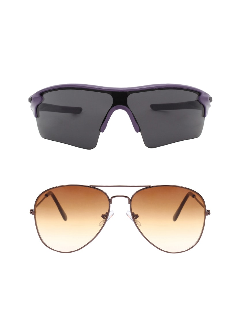 acf2dcef6df Buy Combo Of 2 Wrap-around   Aviator Sunglasses- Abcom3458 by Abner -  Online shopping for Men Sunglasses in India