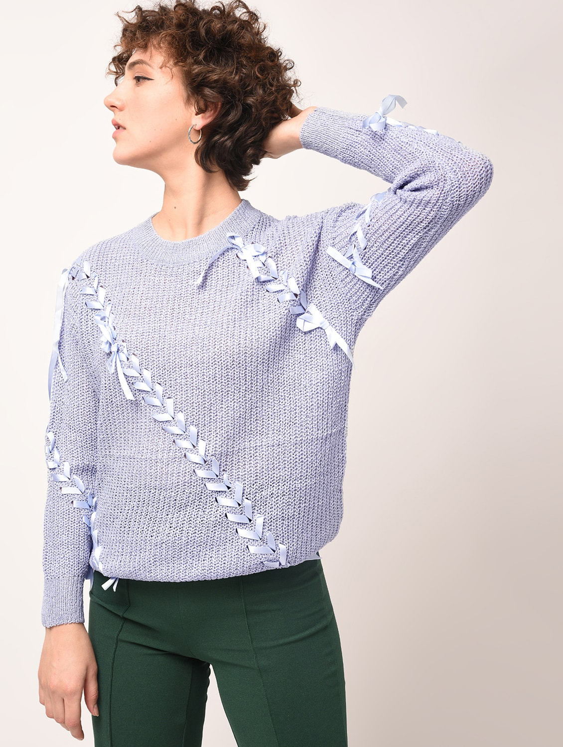 d59e76d929 Buy Dropped Shoulder Lace Up Detail Pullover by Heronica - Online shopping  for Pullovers in India
