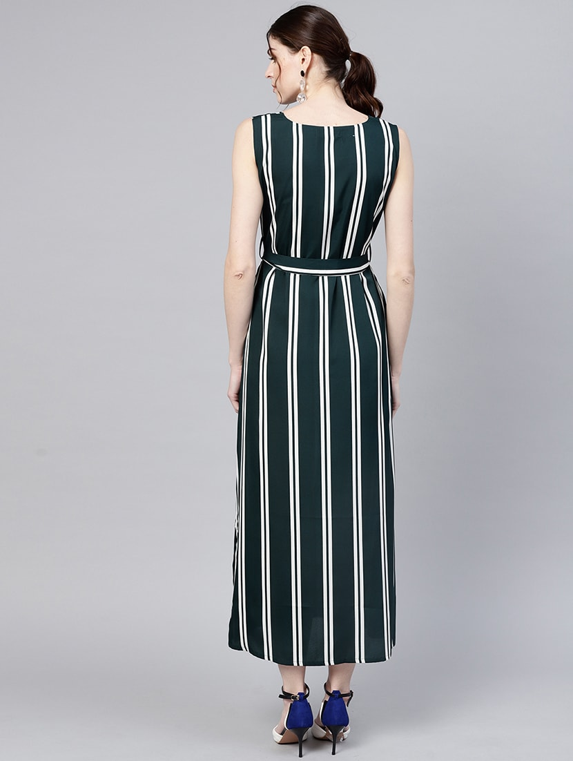 ed1fb6049e Striped Self Tie Belted Maxi Dress