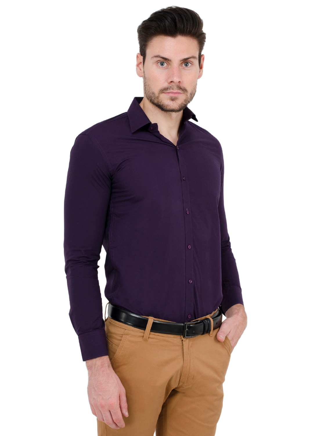 16debeb0787 Buy Purple Solid Formal Shirt by Fomti - Online shopping for Formal Shirts  in India