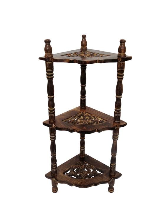 Stupendous Desi Karigar Mini Wooden Corner Rack Side Table Home Decor Carved End Table Furniture Shelves Combo Pack Of 3 Download Free Architecture Designs Itiscsunscenecom