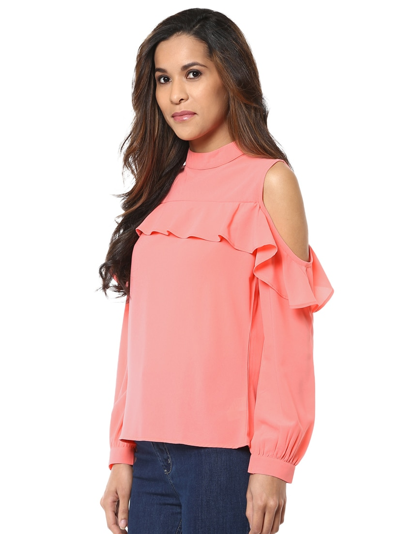 c18e22e947d43 Buy Ruffled Cold Shoulder Top for Women from Harpa for ₹623 at 52% off
