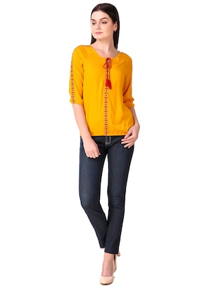 Tassel tie neck embroidered top - 15816376 - Standard Image - 4