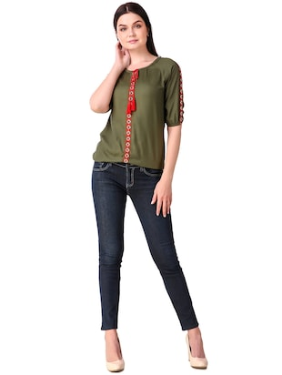 Tassel tie neck embroidered top - 15816380 - Standard Image - 4