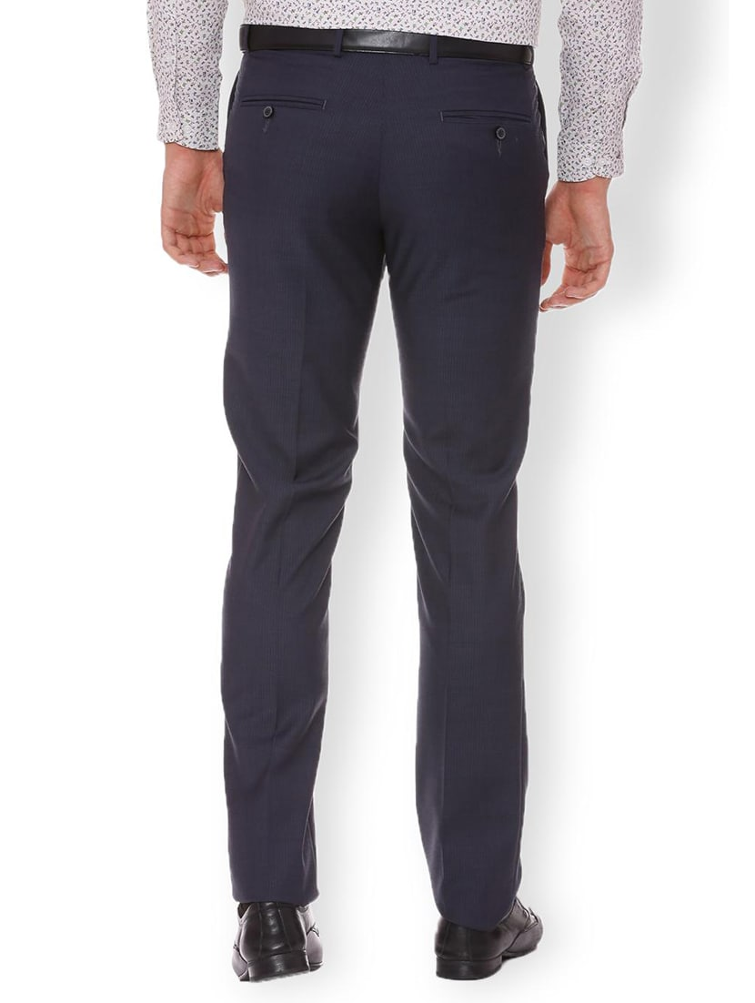 Buy Navy Blue Polyester Blend Flat Front Formal Trouser For Men From