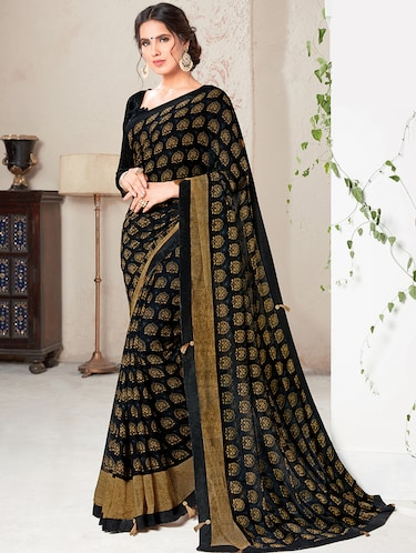 50464387a3ee82 Designer Collection Of Black Sarees Online
