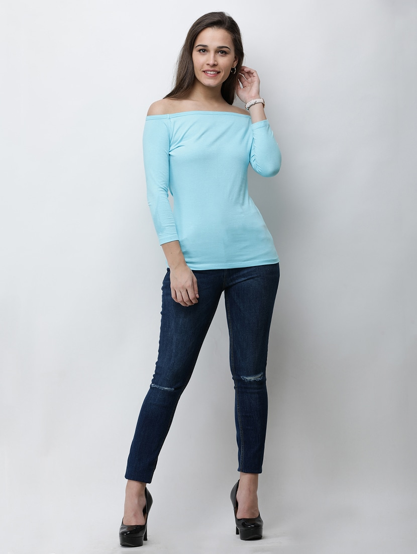 4d7e7d46ff970 Buy Baby Blue Off Shoulder Top for Women from Cation for ₹609 at 49 ...