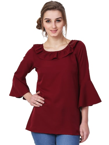 ruffle detail bell sleeved top - 15841641 - Standard Image - 1