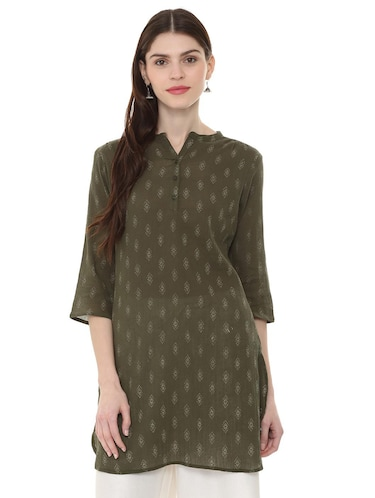 green cotton straight kurti - 15870178 - Standard Image - 1
