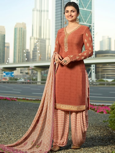 Embroidered semi-stitched patiyala suit - 15870417 - Standard Image - 1