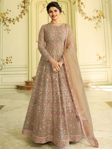 Embroidered semi-stitched anarkali suit - 15870421 - Standard Image - 1