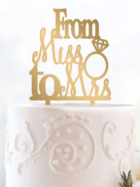 Buy From Miss To Mrs Cake Topper By Engrave Online Shopping For