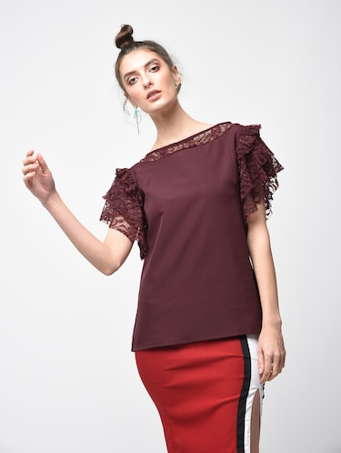 laced panel ruffle detail top - 15881803 - Standard Image - 1