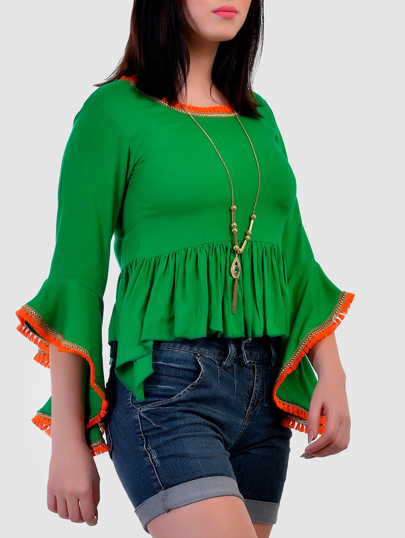 3d24408312daa Buy Fringed Lace Gathered Detail Top for Women from Vaanya for ₹629 at 37%  off