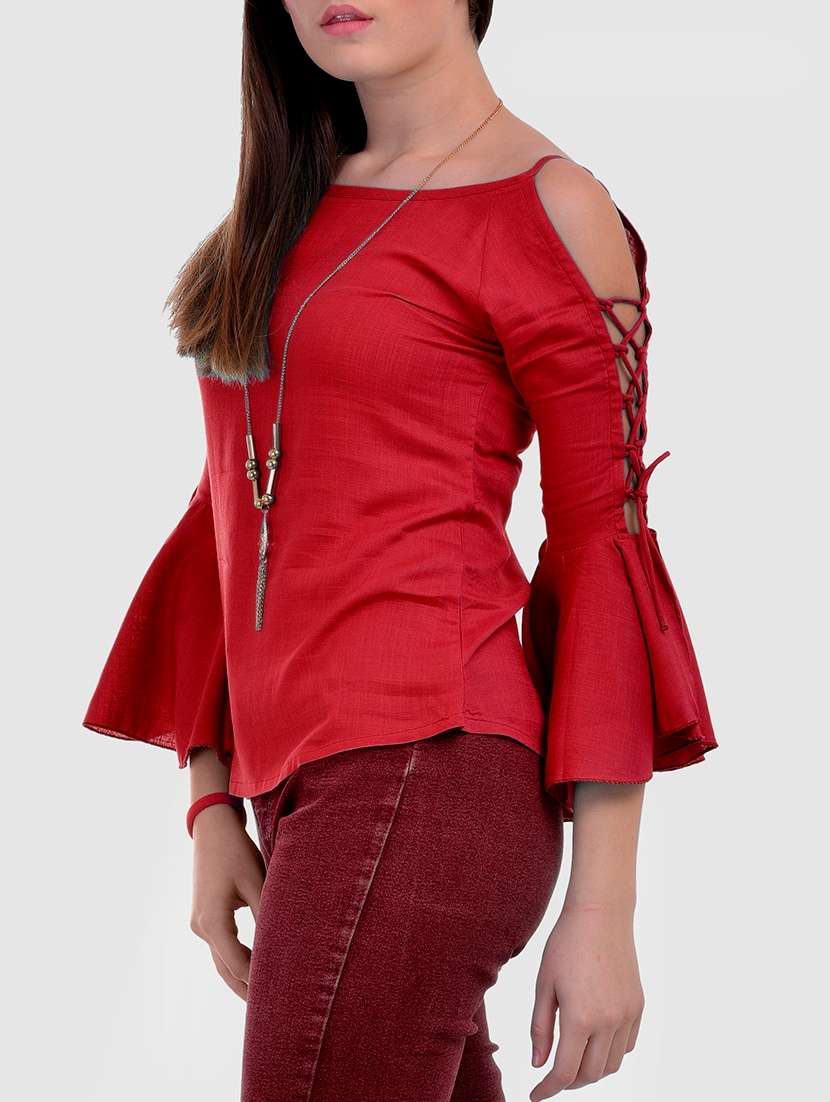 39a486d6b4c21 Buy Criss-cross Lace Up Bell Sleeved Top for Women from Vaanya for ₹629 at  37% off