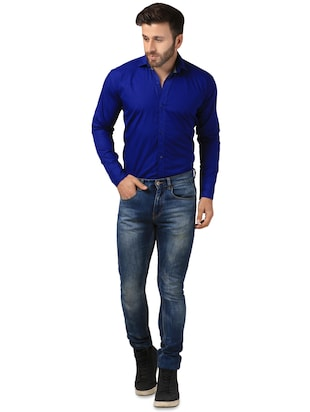 blue solid casual shirt - 15883505 - Standard Image - 4