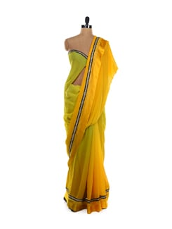 Yellow-green Ombre Saree - LY2
