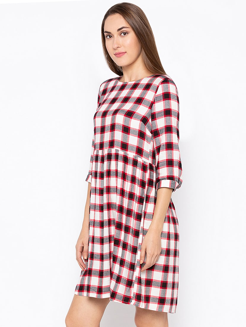 345126f95 Buy Gathered Waist Checkered Dress by Globus - Online shopping for ...