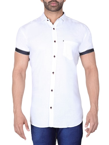 white solid casual shirt - 15890536 - Standard Image - 1