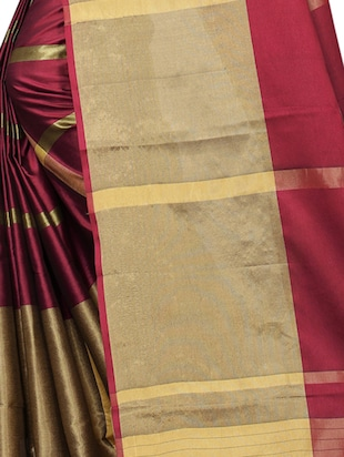 striped woven saree with blouse - 15890594 - Standard Image - 4