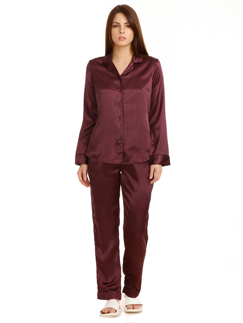 3492dce25f9a Buy Maroon Nightwear Pajama Set for Women from Zivame for ₹1895 at 0% off