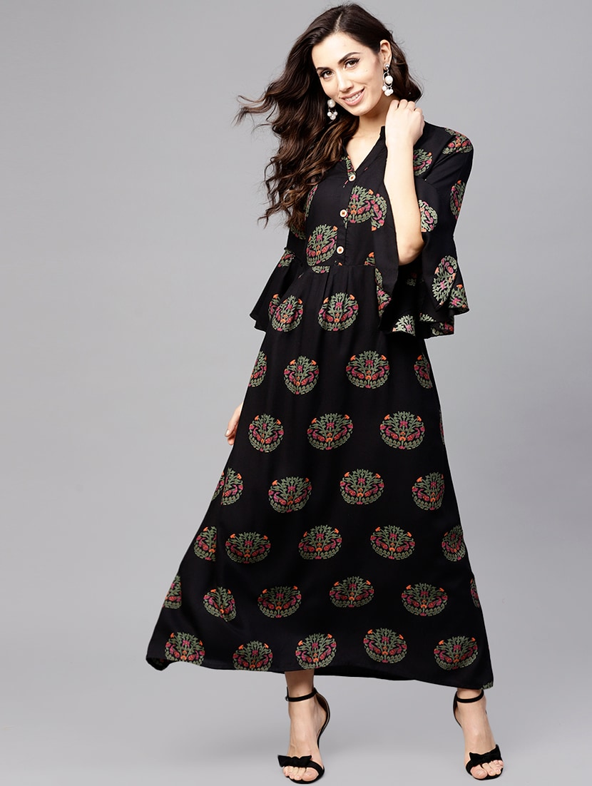 60b662187370 Buy Flared Bell Sleeves Printed Dress for Women from Anaisa for ₹1299 at  60% off
