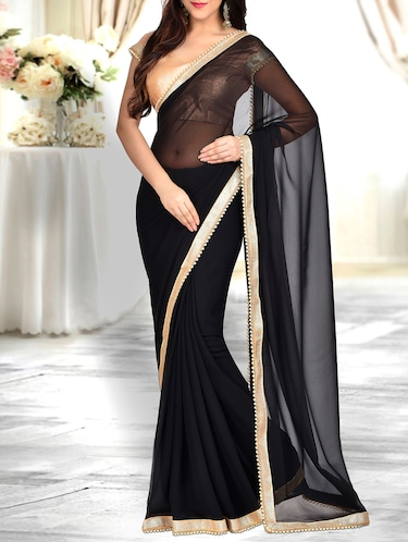 pearl lace border saree with blouse - 15897204 - Standard Image - 1