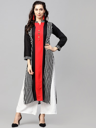 Stripes straight kurta - 15897806 - Standard Image - 1