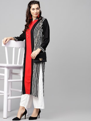 Stripes straight kurta - 15897806 - Standard Image - 4
