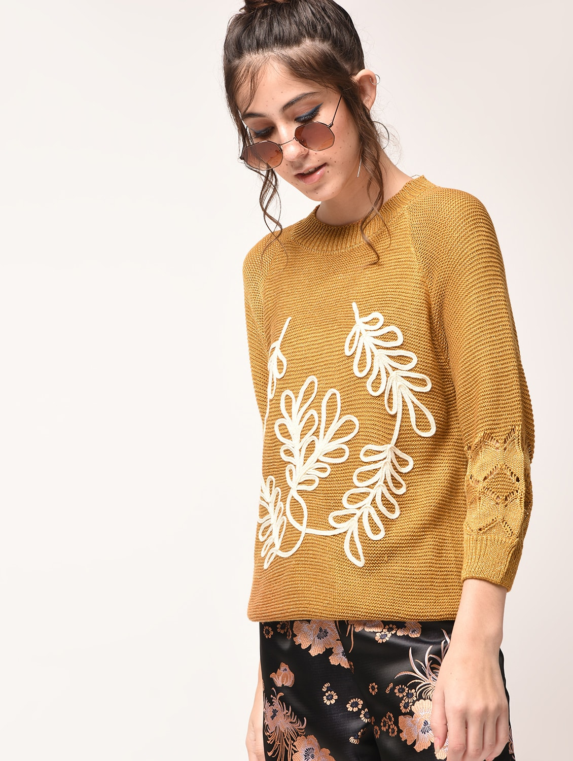 75d56f2fd6 Buy Lace Detail Ribbed Pullover by Heronica - Online shopping for Pullovers  in India