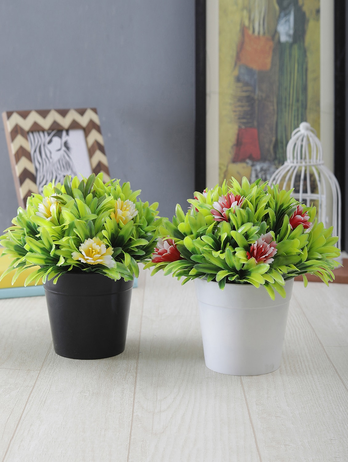 Buy Foliyaj Combo Of 2 Artificial Plants With Large Green Leaves And