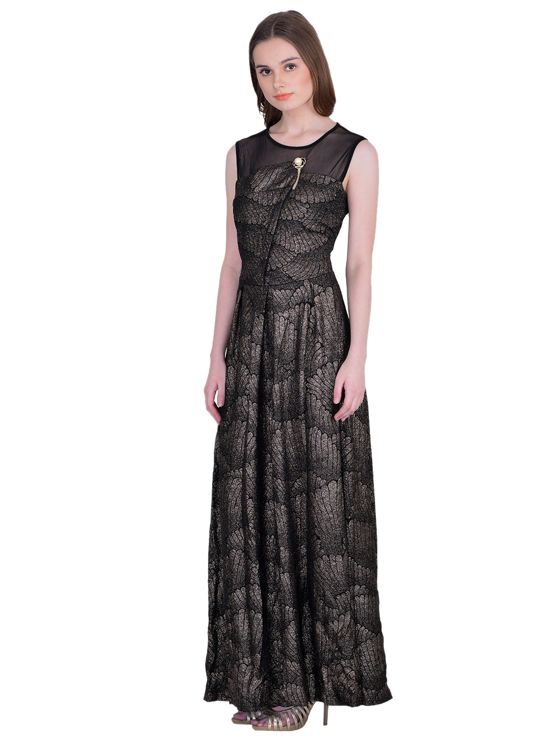 Buy Sheer Panel Pleated Maxi Dress by Ritu Designs - Online shopping for Dresses  in India  410703a92