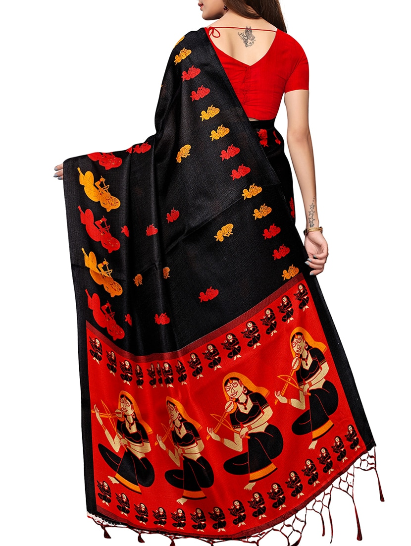 e5d5525b45e1f3 Buy Conversational Printed Saree With Blouse for Women from Ethnic Mumbai  for ₹744 at 50% off