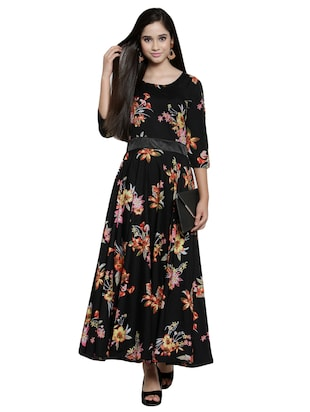 contrast flared maxi dress - 15914235 - Standard Image - 4