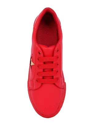 red lace-up sneakers - 15916489 - Standard Image - 4