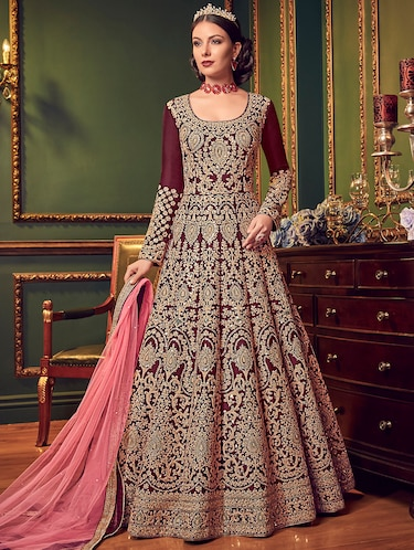 Embroidered semi-stitched anarkali suit - 15916632 - Standard Image - 1