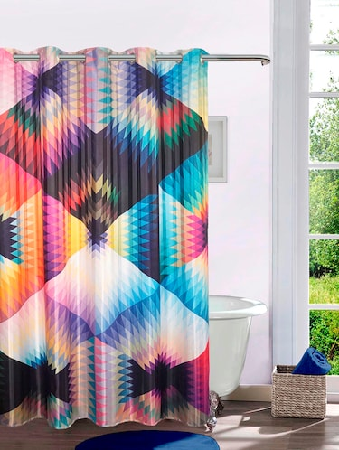 Lushomes Digitally Printed Trippy Geometry Shower Curtain with 10 Eyelets, Size: 72x82 inches (single pc) - 15924680 - Standard Image - 1