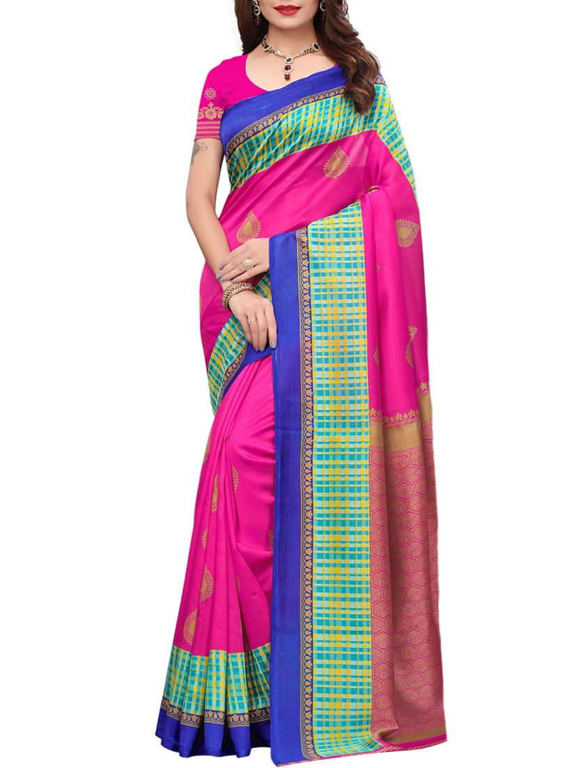 76b216c0e0f Buy Checkered Border Pink Mysore Silk Saree With Blouse for Women from Salwar  Studio for ₹587 at 49% off