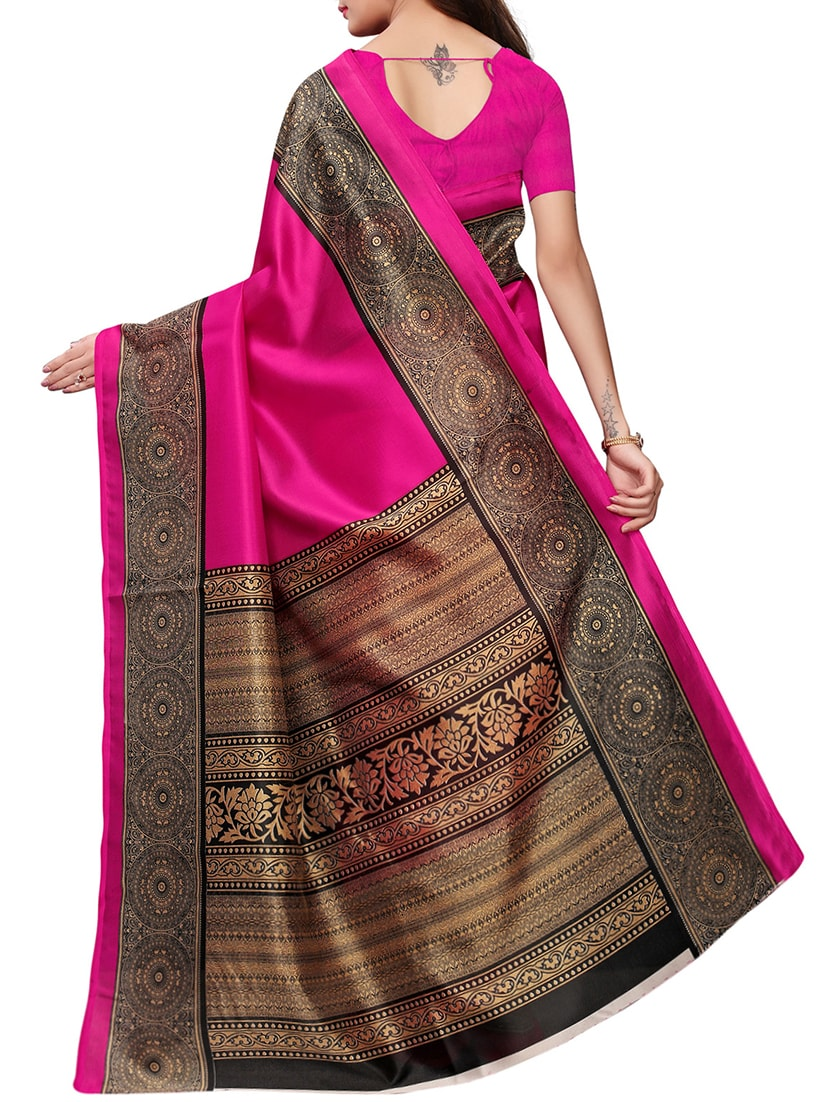 57a040cf0ac Buy Printed Border Pink Mysore Silk Saree With Blouse for Women from Salwar  Studio for ₹599 at 48% off