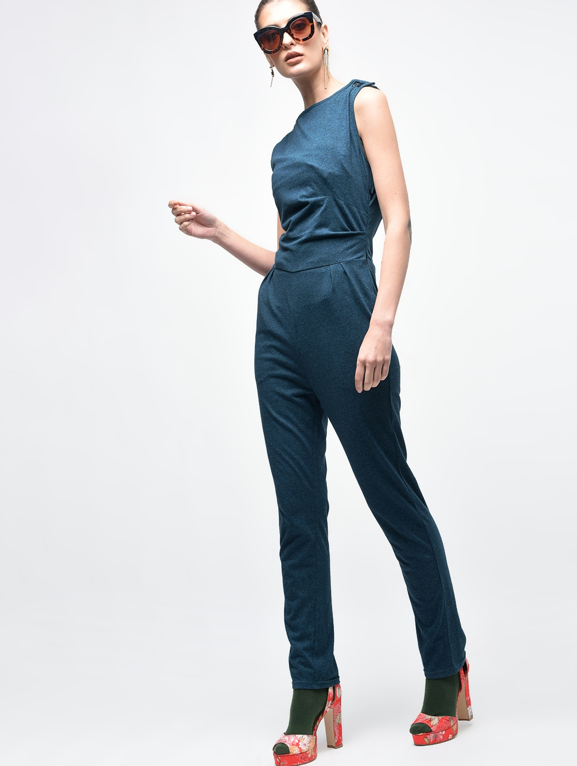 dc204a85c3d Buy Boat Neck Button Detail Jumpsuit for Women from Serendipity for ₹700 at  74% off